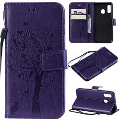 Embossing Butterfly Tree Leather Wallet Case for Samsung Galaxy A40 - Purple
