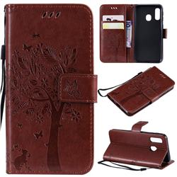 Embossing Butterfly Tree Leather Wallet Case for Samsung Galaxy A40 - Coffee