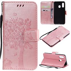 Embossing Butterfly Tree Leather Wallet Case for Samsung Galaxy A40 - Rose Pink