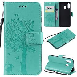 Embossing Butterfly Tree Leather Wallet Case for Samsung Galaxy A40 - Cyan