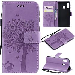 Embossing Butterfly Tree Leather Wallet Case for Samsung Galaxy A40 - Violet