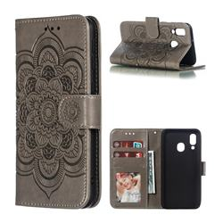 Intricate Embossing Datura Solar Leather Wallet Case for Samsung Galaxy A40 - Gray