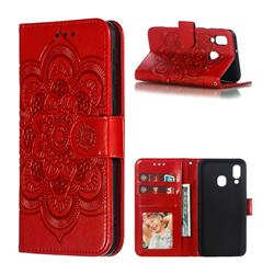 Intricate Embossing Datura Solar Leather Wallet Case for Samsung Galaxy A40 - Red