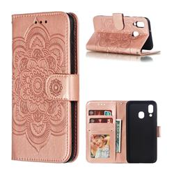 Intricate Embossing Datura Solar Leather Wallet Case for Samsung Galaxy A40 - Rose Gold
