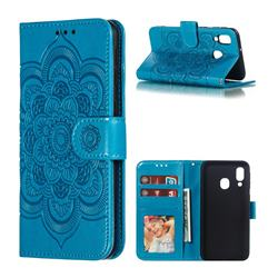 Intricate Embossing Datura Solar Leather Wallet Case for Samsung Galaxy A40 - Blue
