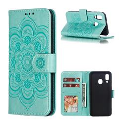 Intricate Embossing Datura Solar Leather Wallet Case for Samsung Galaxy A40 - Green