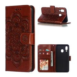 Intricate Embossing Datura Solar Leather Wallet Case for Samsung Galaxy A40 - Brown
