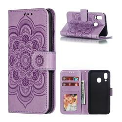 Intricate Embossing Datura Solar Leather Wallet Case for Samsung Galaxy A40 - Purple