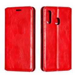 Retro Slim Magnetic Crazy Horse PU Leather Wallet Case for Samsung Galaxy A40 - Red