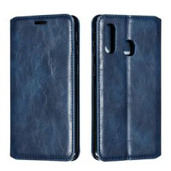 Retro Slim Magnetic Crazy Horse PU Leather Wallet Case for Samsung Galaxy A40 - Blue