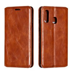 Retro Slim Magnetic Crazy Horse PU Leather Wallet Case for Samsung Galaxy A40 - Brown