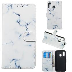 Soft White Marble PU Leather Wallet Case for Samsung Galaxy A40