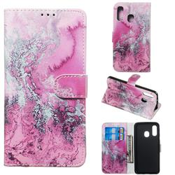 Pink Seawater PU Leather Wallet Case for Samsung Galaxy A40