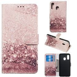 Glittering Rose Gold PU Leather Wallet Case for Samsung Galaxy A40