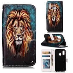 Ice Lion 3D Relief Oil PU Leather Wallet Case for Samsung Galaxy A40