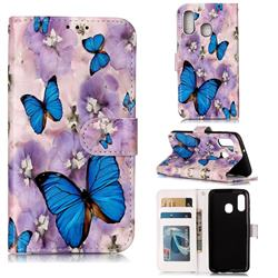 Purple Flowers Butterfly 3D Relief Oil PU Leather Wallet Case for Samsung Galaxy A40