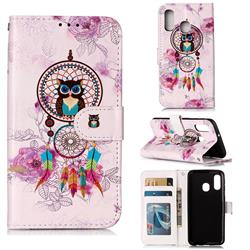 Wind Chimes Owl 3D Relief Oil PU Leather Wallet Case for Samsung Galaxy A40
