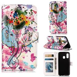 Flower Elephant 3D Relief Oil PU Leather Wallet Case for Samsung Galaxy A40
