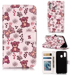 Cute Bear 3D Relief Oil PU Leather Wallet Case for Samsung Galaxy A40