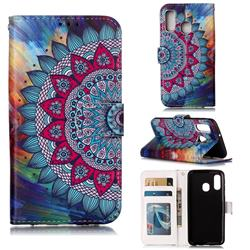 Mandala Flower 3D Relief Oil PU Leather Wallet Case for Samsung Galaxy A40