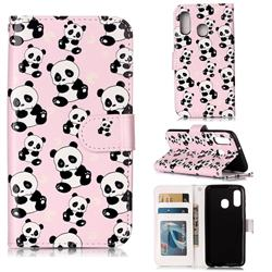 Cute Panda 3D Relief Oil PU Leather Wallet Case for Samsung Galaxy A40