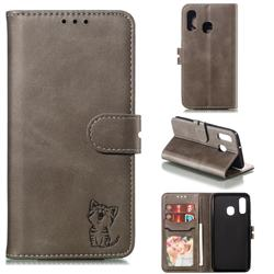 Embossing Happy Cat Leather Wallet Case for Samsung Galaxy A40 - Gray