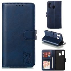 Embossing Happy Cat Leather Wallet Case for Samsung Galaxy A40 - Blue