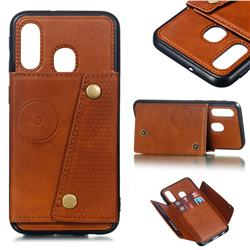 Retro Multifunction Card Slots Stand Leather Coated Phone Back Cover for Samsung Galaxy A40 - Brown