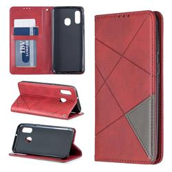 Prismatic Slim Magnetic Sucking Stitching Wallet Flip Cover for Samsung Galaxy A40 - Red
