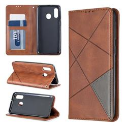 Prismatic Slim Magnetic Sucking Stitching Wallet Flip Cover for Samsung Galaxy A40 - Brown