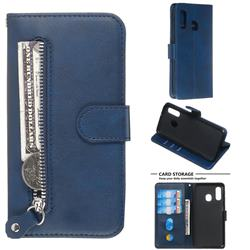 Retro Luxury Zipper Leather Phone Wallet Case for Samsung Galaxy A40 - Blue