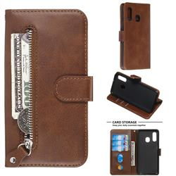 Retro Luxury Zipper Leather Phone Wallet Case for Samsung Galaxy A40 - Brown