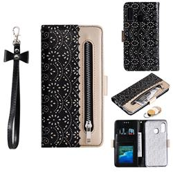 Luxury Lace Zipper Stitching Leather Phone Wallet Case for Samsung Galaxy A40 - Black