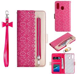Luxury Lace Zipper Stitching Leather Phone Wallet Case for Samsung Galaxy A40 - Rose