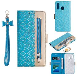 Luxury Lace Zipper Stitching Leather Phone Wallet Case for Samsung Galaxy A40 - Blue