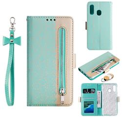 Luxury Lace Zipper Stitching Leather Phone Wallet Case for Samsung Galaxy A40 - Green