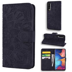 Retro Embossing Mandala Flower Leather Wallet Case for Samsung Galaxy A40 - Black