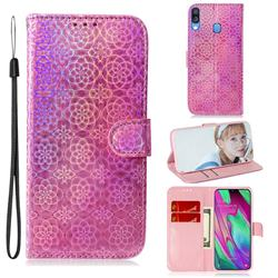 Laser Circle Shining Leather Wallet Phone Case for Samsung Galaxy A40 - Pink