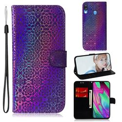Laser Circle Shining Leather Wallet Phone Case for Samsung Galaxy A40 - Purple