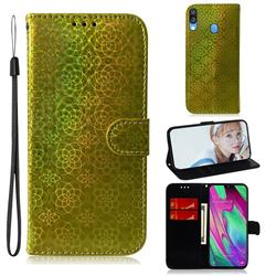 Laser Circle Shining Leather Wallet Phone Case for Samsung Galaxy A40 - Golden