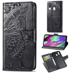 Embossing Mandala Flower Butterfly Leather Wallet Case for Samsung Galaxy A40 - Black