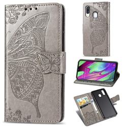 Embossing Mandala Flower Butterfly Leather Wallet Case for Samsung Galaxy A40 - Gray