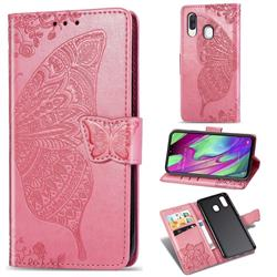 Embossing Mandala Flower Butterfly Leather Wallet Case for Samsung Galaxy A40 - Pink