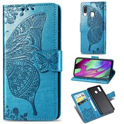 Embossing Mandala Flower Butterfly Leather Wallet Case for Samsung Galaxy A40 - Blue