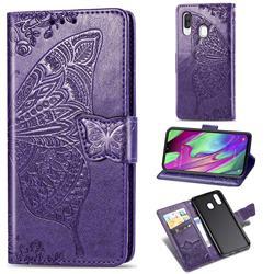 Embossing Mandala Flower Butterfly Leather Wallet Case for Samsung Galaxy A40 - Dark Purple