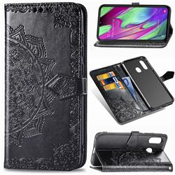 Embossing Imprint Mandala Flower Leather Wallet Case for Samsung Galaxy A40 - Black