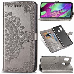 Embossing Imprint Mandala Flower Leather Wallet Case for Samsung Galaxy A40 - Gray