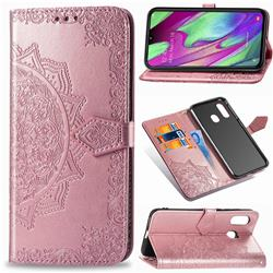 Embossing Imprint Mandala Flower Leather Wallet Case for Samsung Galaxy A40 - Rose Gold