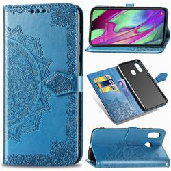Embossing Imprint Mandala Flower Leather Wallet Case for Samsung Galaxy A40 - Blue