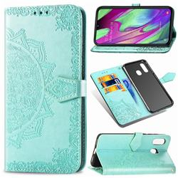 Embossing Imprint Mandala Flower Leather Wallet Case for Samsung Galaxy A40 - Green